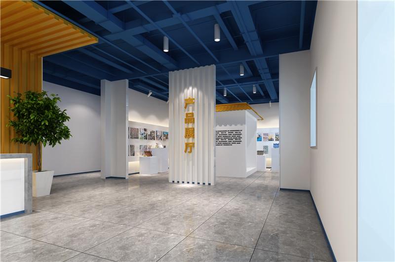北京办公室设计蓝色的吊顶和黄色的背景墙更是相互呼应,前台上方泛着