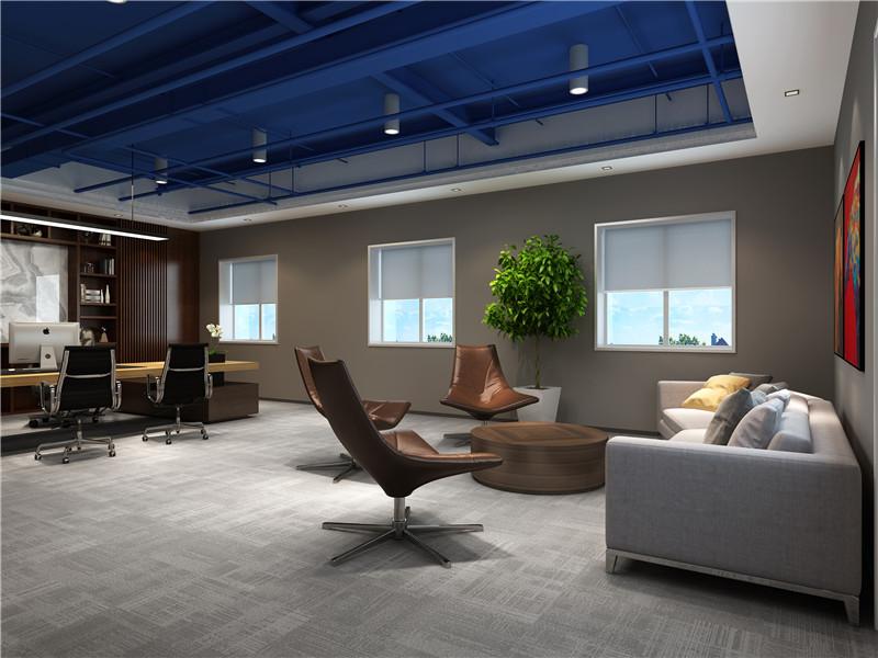 经理办公室设计,以高端,简约,舒适,优雅为设计理念,蓝色的天花板吊顶